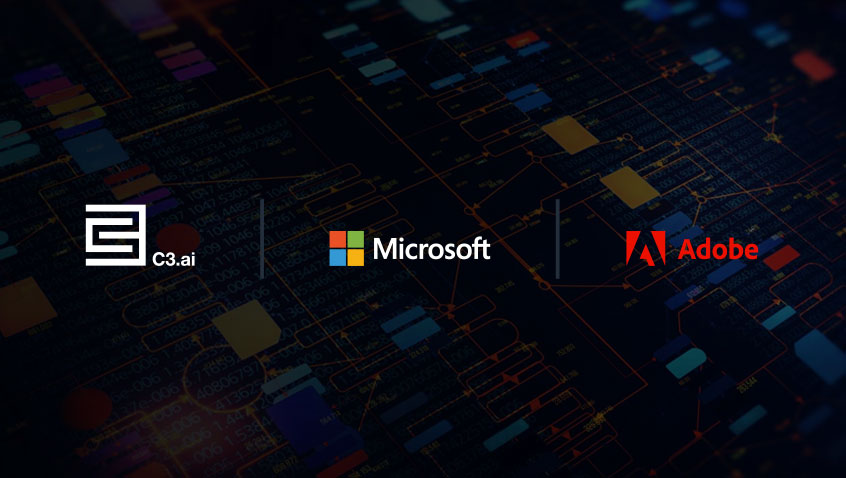 Logos C3.ai, Microsoft and Adobe