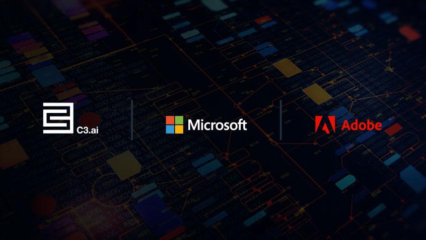 Logos C3.ai, Microsoft and Adobe