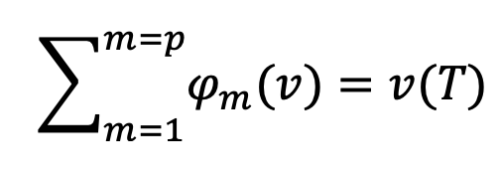 Shapely values efficiency formula